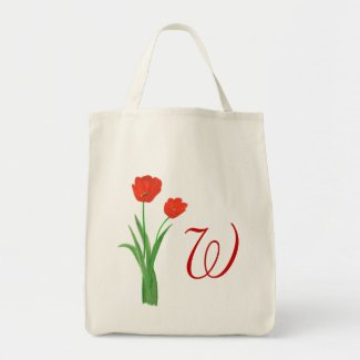 Monogram Wedding tote bags, Red Tulips bag