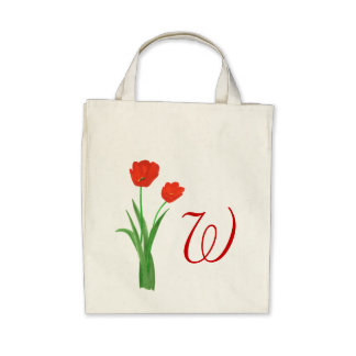 Monogram Wedding tote bags Red Tulips