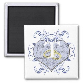 Monogram Wedding Vow Heart 2 Inch Square Magnet
