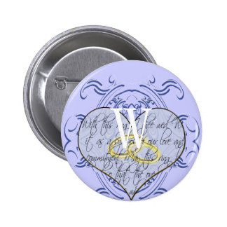 Monogram Wedding Vow Heart Button
