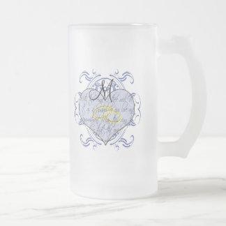 Monogram Wedding Vow Heart Frosted Glass Beer Mug