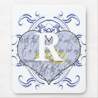 Monogram Wedding Vow Heart Mouse Pad