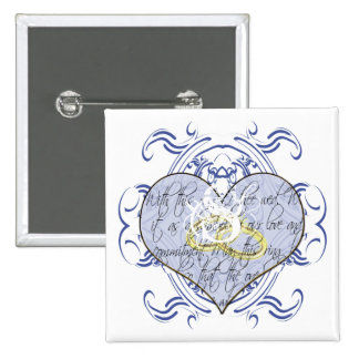 Monogram Wedding Vow Heart Pinback Button