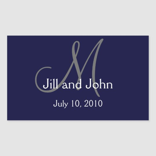 Monogram Wedding Water Bottle Label Navy