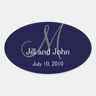 Monogram Wedding Wine Label Sticker Navy