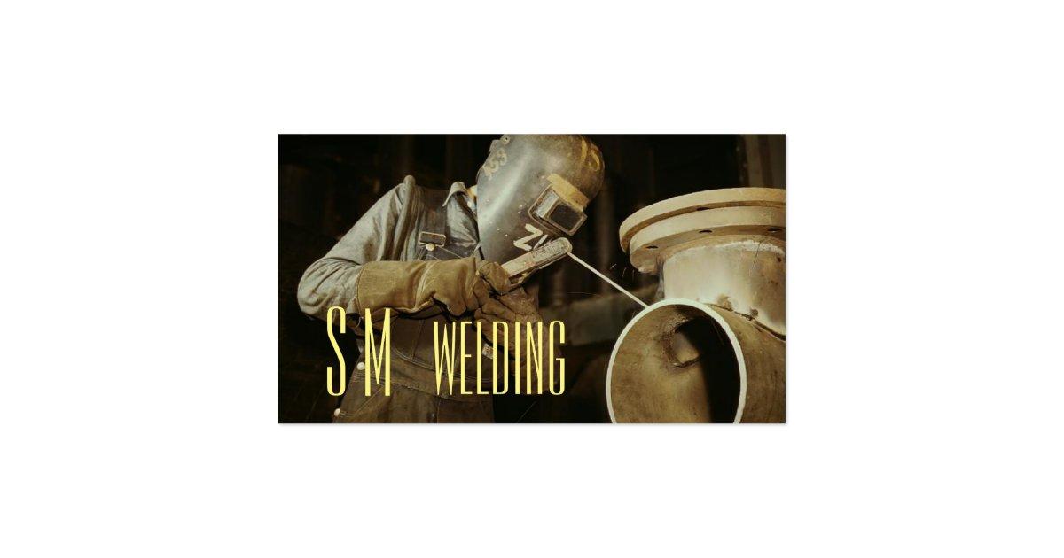 Monogram welding business card zazzle for Welding business card ideas