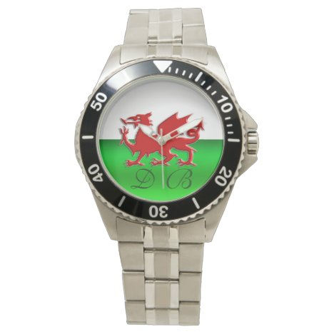 Monogram Welsh Flag, embossed dragon chrome-effect Wrist Watch