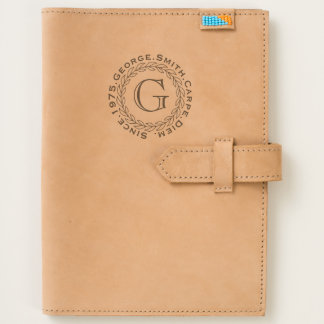 Monogram. Wheat Laurel Wreath. Journal