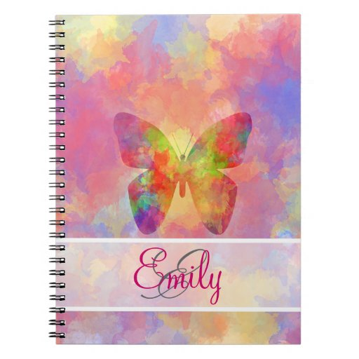 Monogram Whimsical Abstract Butterfly Watercolor Spiral Note Books