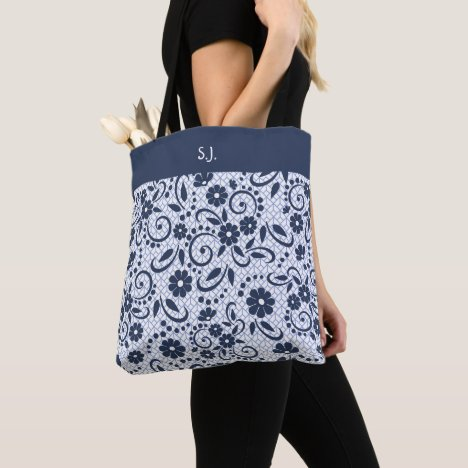 Monogram whimsical blue flowers tote bag