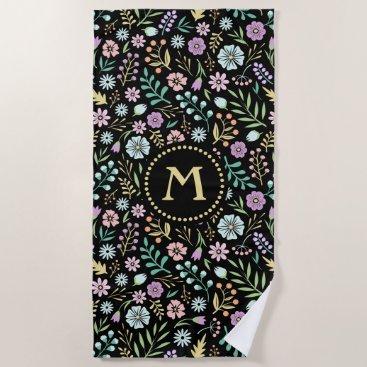 Beach Themed Monogram Whimsical Flowers on Black Beach Towel