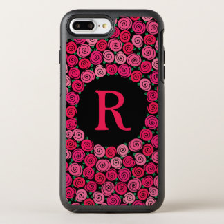 Monogram Whimsical Pink Roses Personalized OtterBox Symmetry iPhone 7 Plus Case