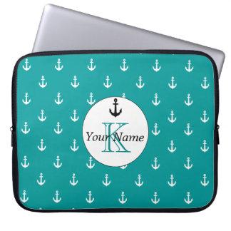 Monogram White Anchor Monogram Pattern Sea Green Computer Sleeve