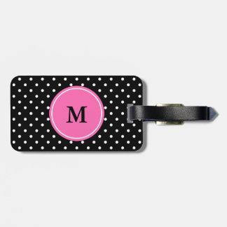 Monogram White and Black Polka Dot Pattern Bag Tag