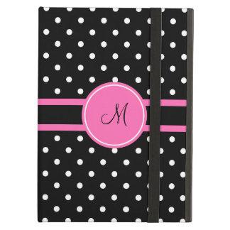 Monogram White and Black Polka Dot Pattern Case For iPad Air