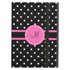 Monogram White And Black Polka Dot Pattern Ipad Air Covers at Zazzle