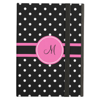 Monogram White and Black Polka Dot Pattern iPad Air Covers