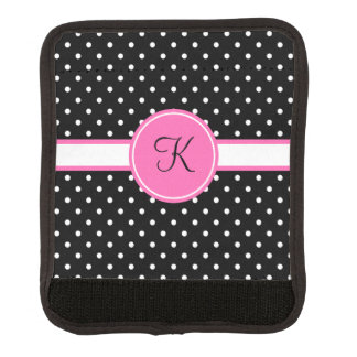 Monogram White and Black Polka Dot Pattern Luggage Handle Wrap