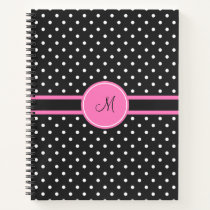 Monogram White and Black Polka Dot Pattern Notebook