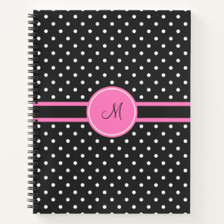 Monogram White and Black Polka Dot Pattern Notebook