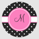 Monogram White and Black Polka Dot Pattern Stickers