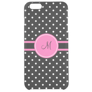 Monogram White and Black Polka Dot Pattern Uncommon Clearly™ Deflector iPhone 6 Plus Case