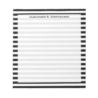 Monogram White and Black Stripe Notepad