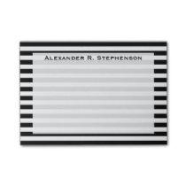 Monogram White and Black Stripe Post-it Notes