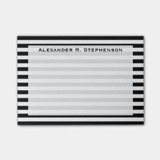 Monogram White and Black Stripe Post-it® Notes