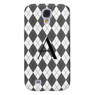 Monogram White and grey argyle Galaxy S4 Cover
