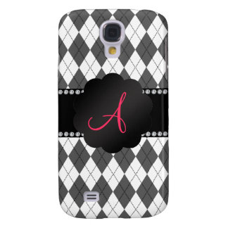 Monogram White and grey argyle pattern Samsung Galaxy S4 Cover