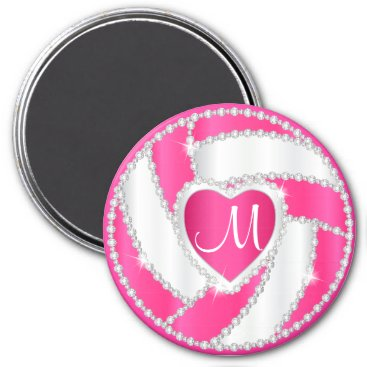 USA Themed Monogram White and Hot Pink Diamond Volleyball Magnet