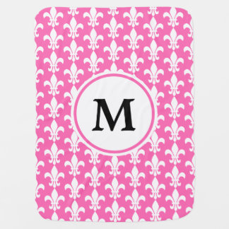 Monogram White and Hot Pink Fleur de Lis Pattern Baby Blanket