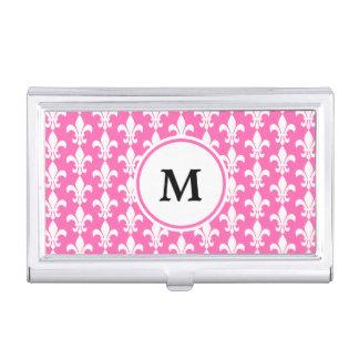 Monogram White and Hot Pink Fleur de Lis Pattern Business Card Case