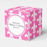 Monogram White and Hot Pink Fleur de Lis Pattern Favor Box