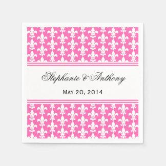 Monogram White and Hot Pink Fleur de Lis Pattern Paper Napkin