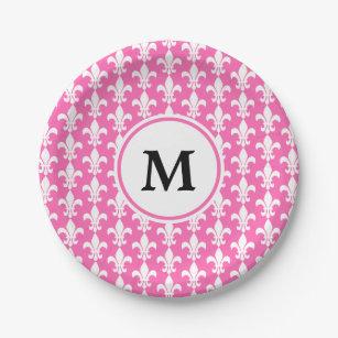 Monogram White and Hot Pink Fleur de Lis Pattern Paper Plate  sc 1 st  Zazzle & Fleur De Lis Plates | Zazzle