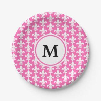 Monogram White and Hot Pink Fleur de Lis Pattern Paper Plate