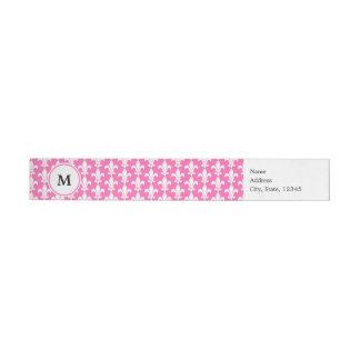 Monogram White and Hot Pink Fleur de Lis Pattern Wrap Around Label