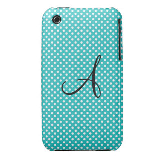 Monogram white and turquoise polka dots iPhone 3 Case-Mate cases