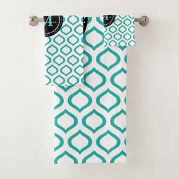 Aqua Monogram | White Aqua Trellis Pattern Bath Towel Set