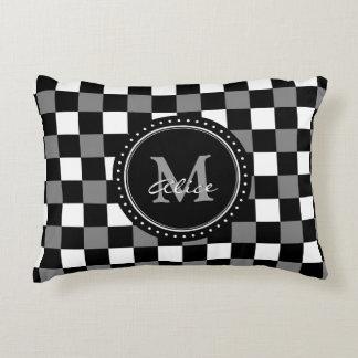 Monogram | White Black Checkerboard Pattern Accent Pillow