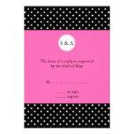 Monogram White Black, Hot Pink Polka Dot RSVP Custom Invite