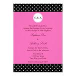 Monogram White Black, Hot Pink Polka Dot Wedding 5x7 Paper Invitation Card