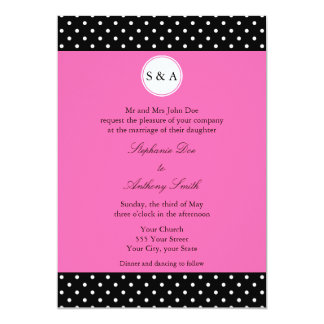 Monogram White Black, Hot Pink Polka Dot Wedding Card