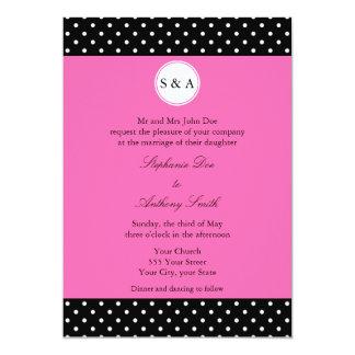 Monogram White Black, Hot Pink Polka Dot Wedding Card