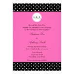 Monogram White Black, Hot Pink Polka Dot Wedding Announcements