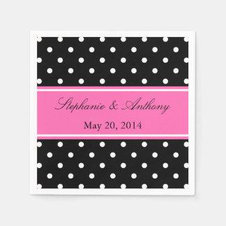 Monogram White Black, Hot Pink Polka Dot Wedding Paper Napkin