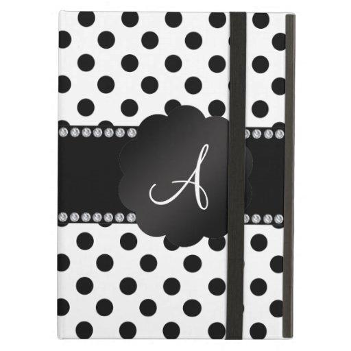 Monogram white black polka dots iPad cases
