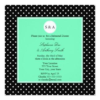 Monogram White Black, Seafoam Polka Dot Rehearsal Personalized Invite